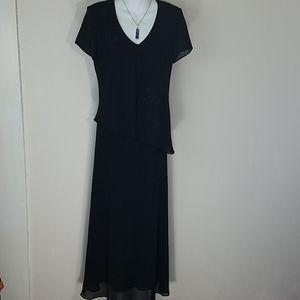 Dress Maxi crepe beaded black sheer short sleeves